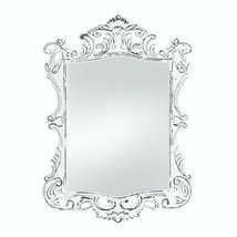 Regal White Distressed Vintage Style Wall Wood Mirror - $35.49