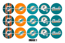 Printed Precut MIAMI DOLPHINS inspired 1 inch images for bottlecaps, craft - $2.00