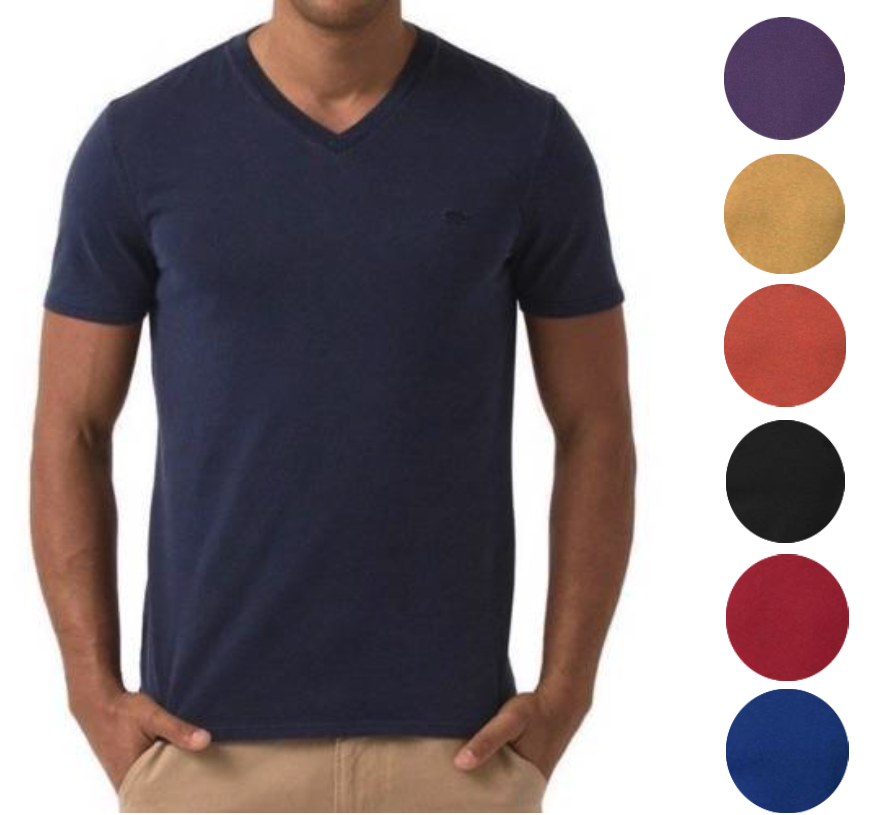 Lacoste Men's Premium Cotton V-Neck Shirt T-Shirt Slim Fit Vintage Wash