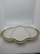 Vintage Fire King Oven Ware Milk Glass Gold Trim Divided Relish Dish USA - $4.99