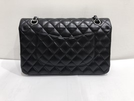 SALE Authentic Chanel BLACK QUILTED LAMBSKIN MEDIUM CLASSIC DOUBLE FLAP BAG SHW image 2