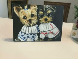 YORKIE PUPPIES PRINTED CANVAS STANDING  PICTURE FROM ORIGINAL - $123.75