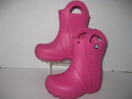 Crocs toddler girls size 6 pink pull on boots - £25.06 GBP