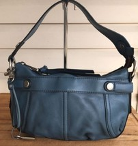 Fossil Leather Handbag Blue Key Fob Leather Strap Perfect For Fall - $80.84