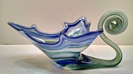 Vintage Blown Glass Art Deco Glass Swan Blue Green Murano? - $19.75
