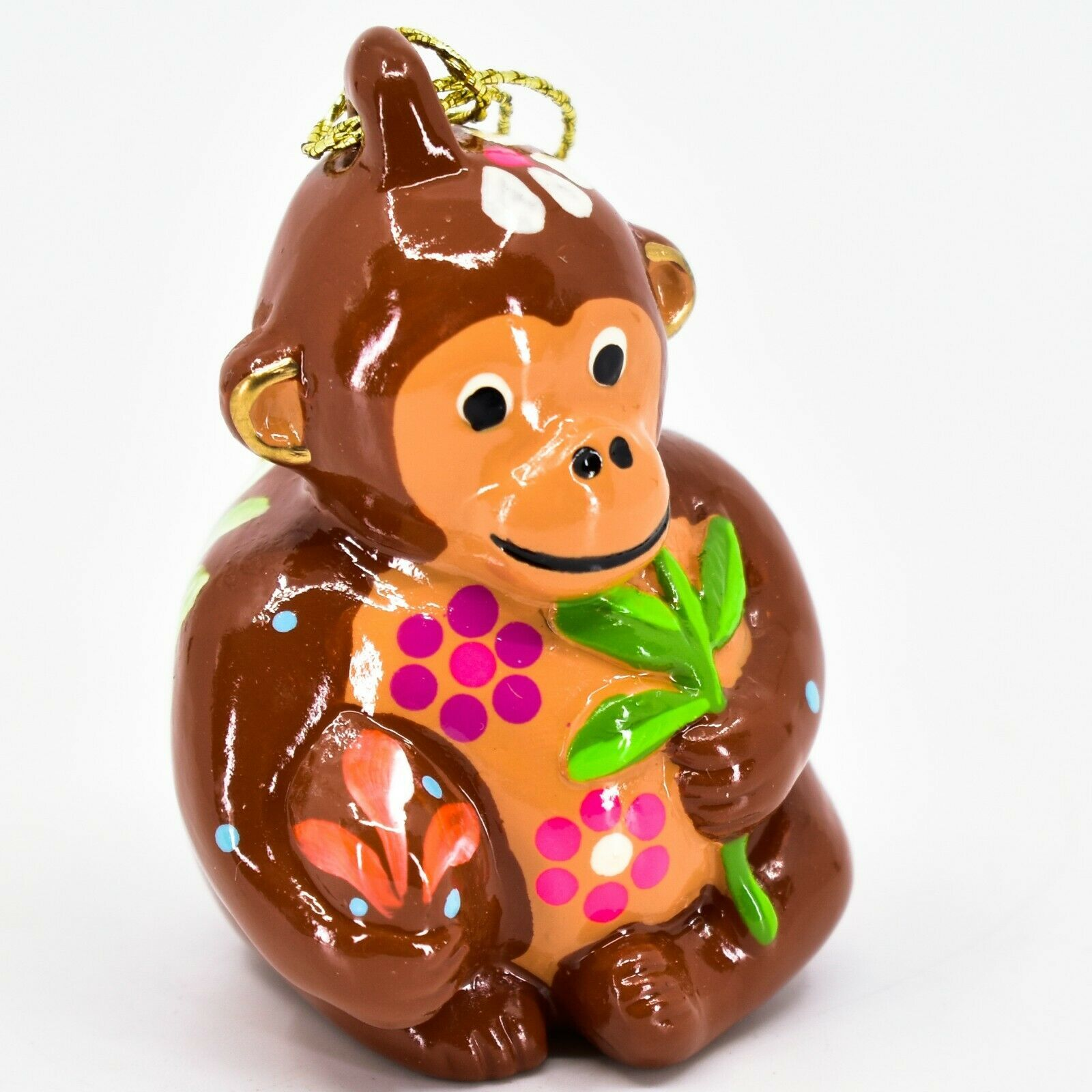 Handcrafted Painted Ceramic Brown Monkey Confetti Ornament Made in Peru