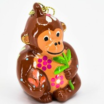 Handcrafted Painted Ceramic Brown Monkey Confetti Ornament Made in Peru image 1