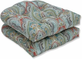 Pillow Perfect Outdoor | Indoor Pretty Witty Reef Wicker Seat Cushion (S... - £48.53 GBP