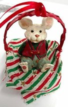 Merry Chrismouse in Basket Ornament (Stripes) - $15.00
