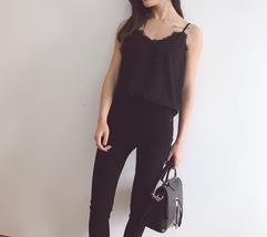 BLACK LACE Chiffon Top Summer Sleeveless Black Tops Wedding Bridesmaid Top Shirt image 4