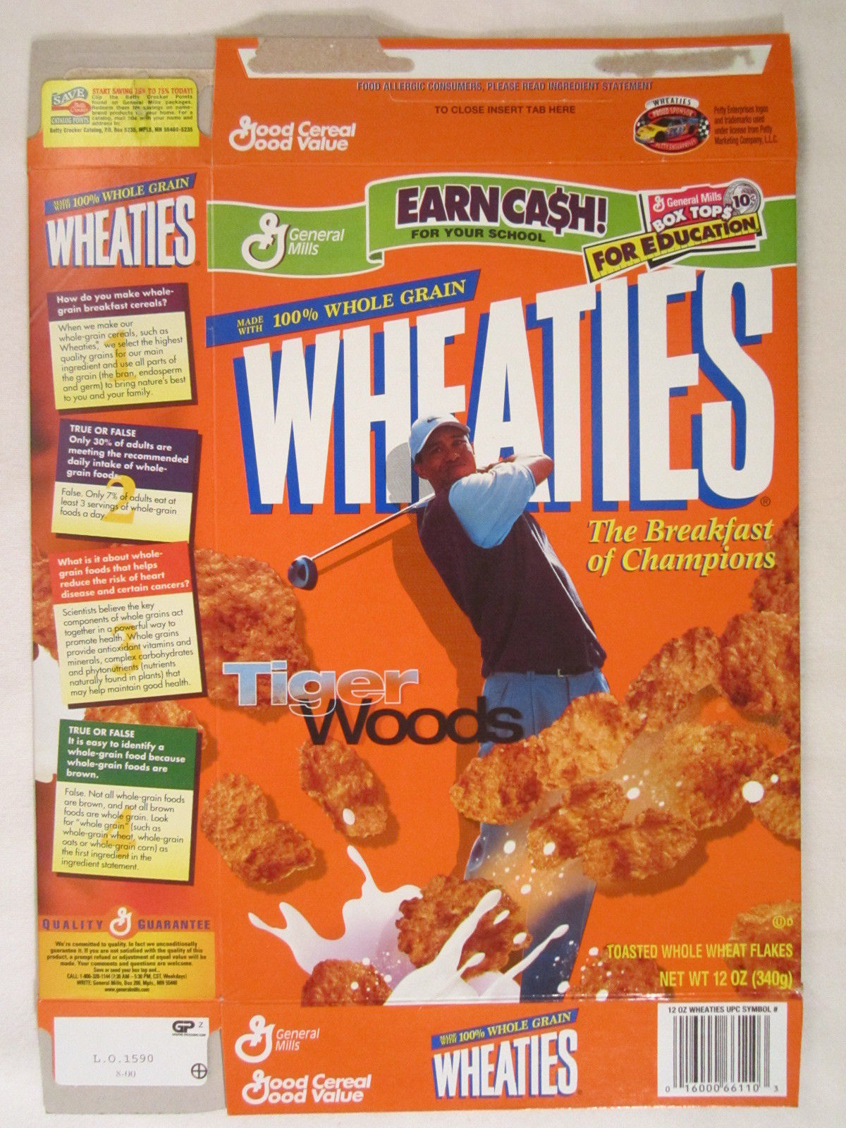 Primary image for MT WHEATIES Cereal Box 2000 12oz TIGER WOODS [G7E9b]