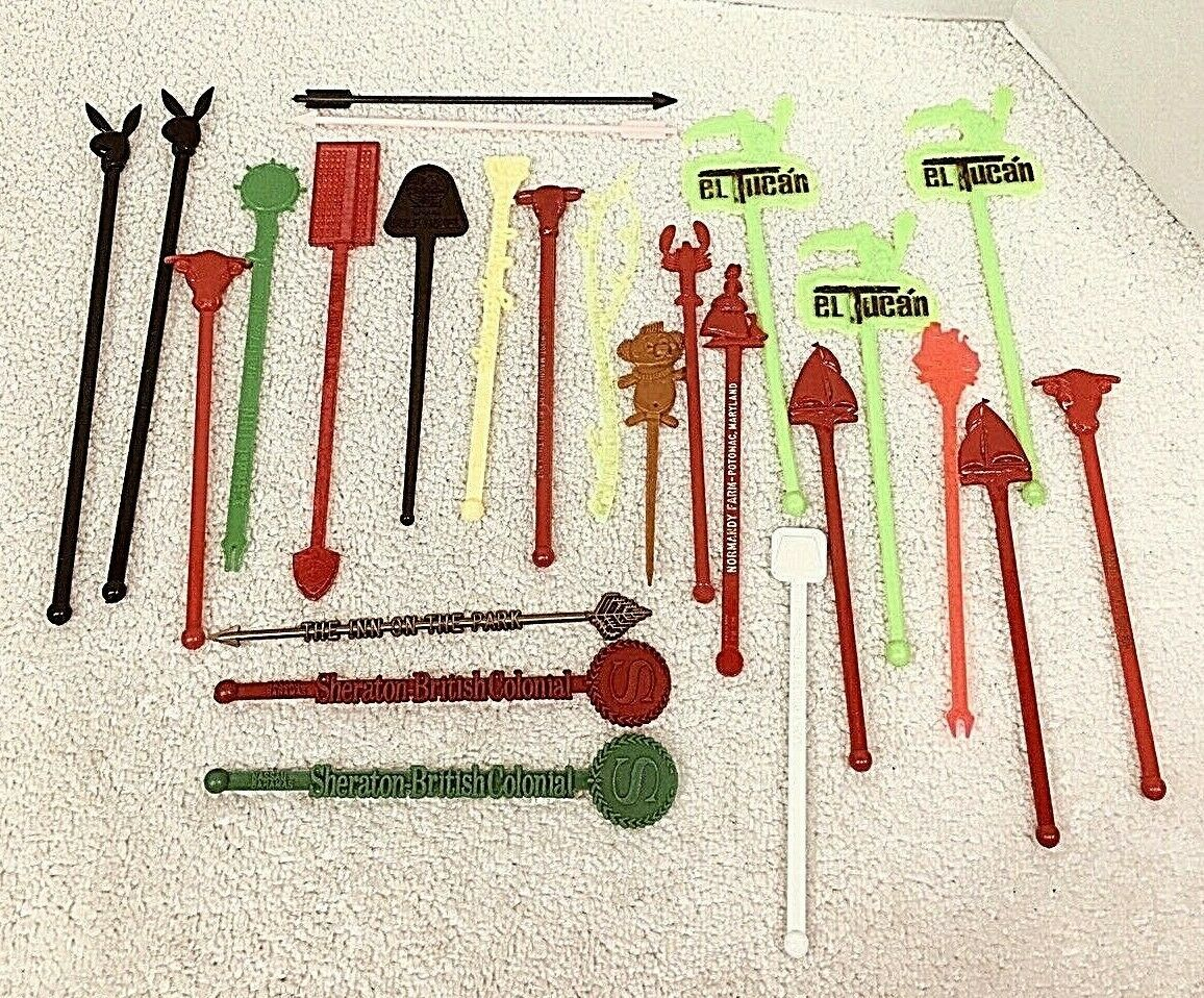 Primary image for Lot of 25 Vintage Swizzle Sticks El Tucan Boats Playboy Walt Disney World MORE!!