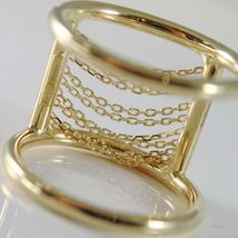 18K YELLOW GOLD BAND RING WITH MULTI WIRES DIAMOND CUT CHAINS, MADE IN ITALY image 4