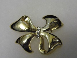 Vintage Silver Tone Diamond Like Gems Brooch Bow Costume Fashion Jewelry... - $10.66