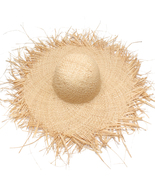 Women Summer Sun Hat With A Large Brim Raffia Straw Hat Fringe Big Beach rs - $24.45