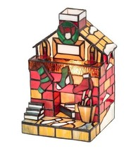 Christmas Fireplace with Stockings Tiffany Style Stained Glass Accent La... - €273,12 EUR