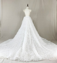 White High Low Tulle Skirt White Bridal Wedding Skirt with Train image 2