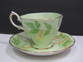 Royal Albert Tea Cup Light Green With Branches and Yellow Pussy Willow F... - $41.58