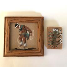 "2pc Navajo HOOP DANCER plus MAGNET Sand Painting Wood Frame 5"" Signed Jo... - $38.61"