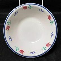 "Design Concepts Cereal Bowls Set of 4, 7"" Soup Bowls, White, Blue Trim Tulips image 4"