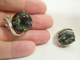 Coro Black Confetti Green Blue Rhinestone Silver Plate Clip on Earrings ... - $15.35