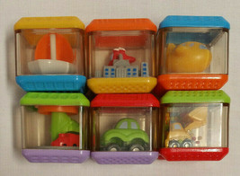 6 Fisher-Price Peek A Boo Blocks Vehicles Plane Train Car Bulldozer Boat... - $6.92
