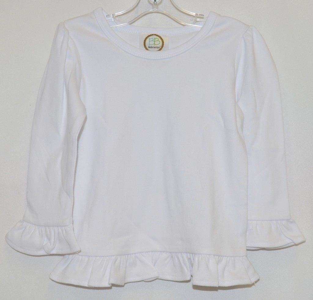 Blanks Boutique White Long Sleeve Cotton Ruffle Shirt Size 18M