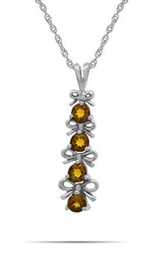 AFJewels 14k White Gold Genuine Citrine Ribbon Bow Journey Pendant