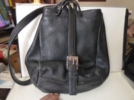 Vintage Calvin Klein Black Pebble Leather Drawstring Pouch Shoulder Bag - $65.00