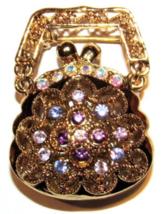 Purse Handbag Pin Brooch Multicolor Crystal Gold Tone Metal Fashion Accessory - $19.99