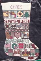 Vintage Bucilla Country Christmas Sampler Cross Stitch Stocking Kit 82433 - $29.95