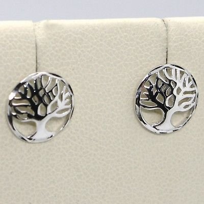18K WHITE  GOLD ROUND BUTTON EARRINGS WITH BEAUTIFUL TREE OF LIFE, MADE IN ITALY