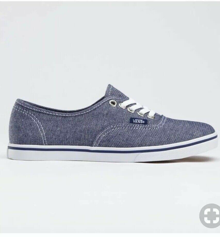 VANS Lo Pro Silver Glitter Canvas Lace Up Skate Shoes Women 11 Blue Denim