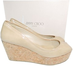 Jimmy Choo 'parley' Nude Patent Leather Open Toe Cork Wedge Pump Sandal ... - $199.99
