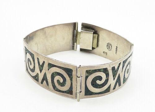 AMD MEXICO 925 Silver - Vintage Jasper Swirl Pattern Chain Bracelet - B6302 image 2