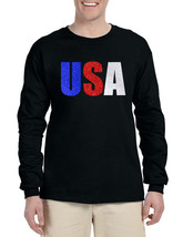 Men's Long Sleeve USA Glitter Flag Colors 4th Of July Tee - $16.94+