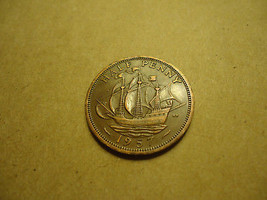 1957 ENGLISH HALF PENNY -SHIP COIN- NAVY & COAST GUARD VETS - COMBINED S... - $1.98