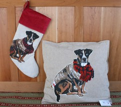 POTTERY BARN DOG TERRIER PILLOW COVER & STOCKING –NWT- WOWSER FOR HOLIDA... - $24.97