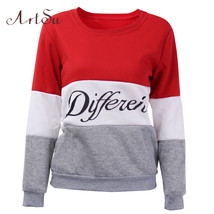 ArtSu 2017 Autumn and winter women fleeve hoodies printed letters tracks... - $16.00