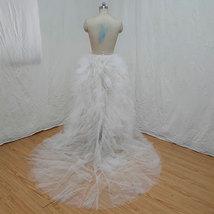 White Wedding Open Tiered Skirt Custom Plus Size Wedding Photo Tulle Skirt  image 3