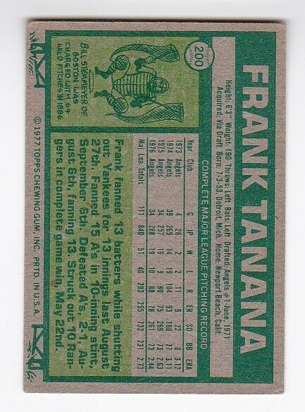 FRANK TANANA AUTOGRAPHED CARD 1977 TOPPS CALIFORNIA ANGELS