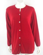 Mimi Maternity Cardigan Sweater Sz Large Red Solid Button Up Basic Cotto... - $29.70