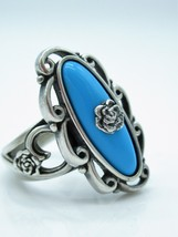 CAROLYN POLLACK STERLING OVAL SLEEPING BEAUTY TURQUOISE ROSETTE RING SZ 6 - $60.08