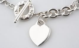 Tiffany & Co. PLATA DE LEY vacío Corazón Placa Collar Botón Alargado 38.1cm - $356.39