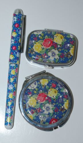 Pretty Tools Blue Floral Ball Point Pen Pill Box Mirror Compact 3 Set