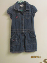 OSHKOSH DENIM DRESS PINK FLOWERS GIRLS SZ 4 RN 96367 GUC - $4.50