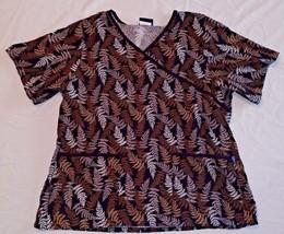 TAFFORD UNIFORM Ladies L Scrubs TOP Shirt Womens SS Large FERN NPT03K Co... - $13.97
