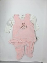 Kanz Baby Girls 2 Piece Set Romper Pink Ivory Size 6 Months Velour Foote... - $24.14