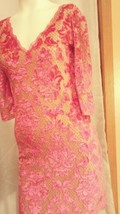 """Sexy """"Free People"""" Flocked Stretchy Dress pink & nude Sz M - $33.87"""