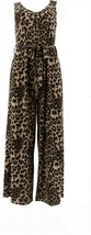 Attitudes Renee Petite Slvless Como Jersey Belted Jumpsuit Animal PM NEW... - $30.67